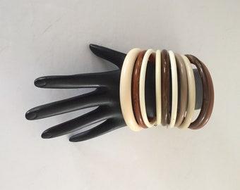 Bangle Bracelets, Brown Bangles, Neutral Color Bangles