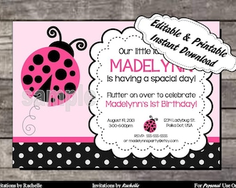 Ladybug Invitation Birthday Party Pink - Editable Printable Digital File with Instant Download