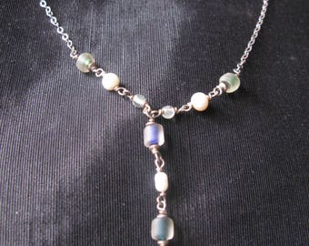 Lariat necklace silver, pearl glass beaded stamped 925, vintage jewelry