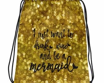 Drink Wine Mermaid Drawstring bag