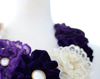 Statement Necklace - Flower Lei in Plum and Champagne - Perfectly Virgo by Mademoiselle Mermaid