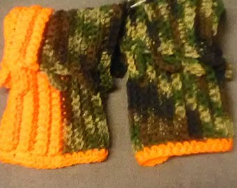 Camo and orange crocheted boot cuffs,crocheted boot cuffs,hunting,camo and orange,winter accessories,handmade,ready to ship