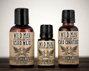 Beard Care Gift Set Wild Man THREE PACK Beard Oil Conditioner, Beard Wash and Stud Tonic Serum