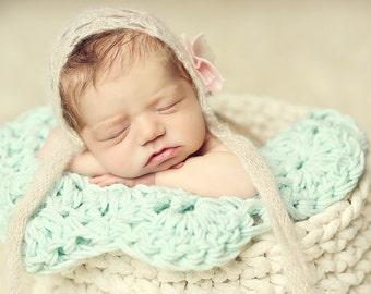 Newborn Posing Blanket, Mini Blanket, Layering Blanket, Basket Stuffer Blanket, Layering Fabric, Knit Baby Blanket, Newborn Photo Prop