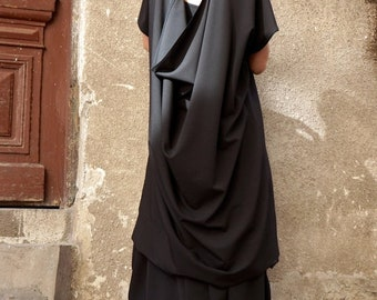 SALE NEW Autumn  Hot Black Maxi Loose Shirt / Asymmetric shirt low open back tunic  / Oversize dress by AAKASHA  A02387