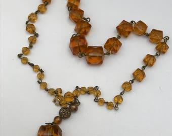 Vintage  Glass beaded Necklace . Czech Art Glass Jewelry