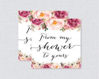 Baby shower favor tags template printable rustic floral thank printable pink floral baby shower favor tags rustic flower from my shower to yours tags negle Image collections