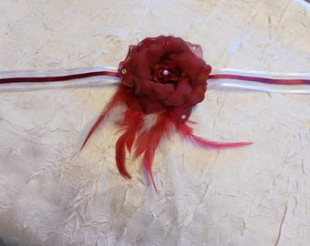 "Ribbon ""wedding procession"" Burgundy Flower Adornment"