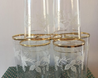 FREE SHIPPING Vintage 1950s Barlett Collins Set of SEVEN Frosted Grapevine Gold-Rim Mid Century Modern Juice Glasses