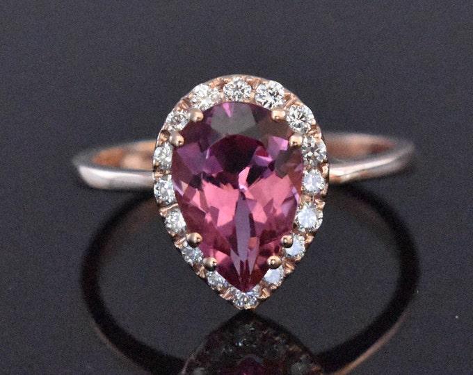 14K Rose Gold Pink Tourmaline & Diamond Ring | Engagement Ring | Wedding Ring | Anniversary Ring | Fine Jewelry | Statement Ring | Handmade