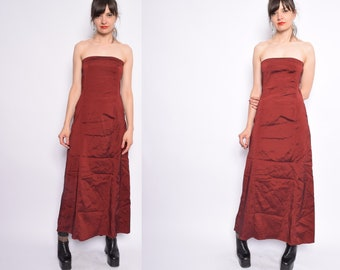 Vintage 90's Iridescent Strapless Maxi Dress /  Burgundy  Metallic Long Dress - Size Medium