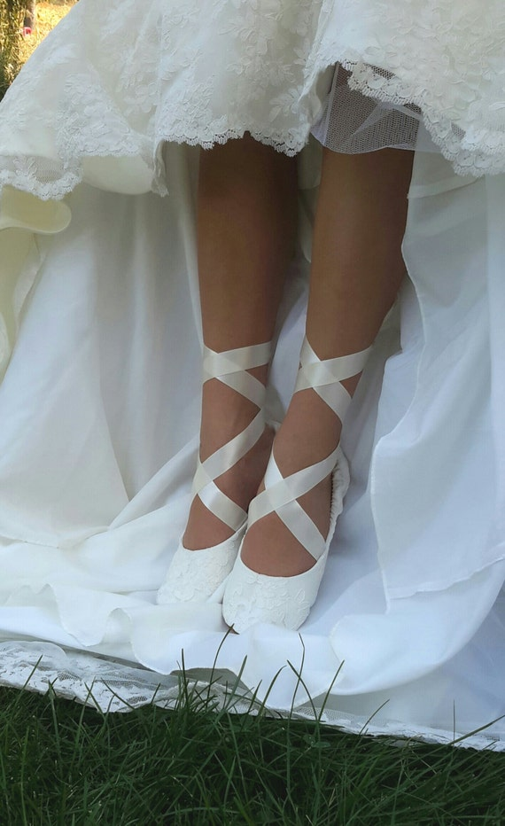 Lace Ballerina Style Bridal Shoe Ivory Lace Flat Wedding