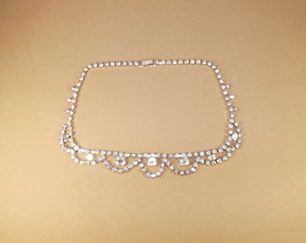 Rhinestone Necklace, Vintage Fashion Jewelry, Estate Collectibles, Jewelry for Weddings, Proms and Formals, Clear Stones