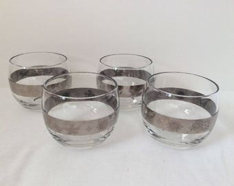 Mid Century Silver Band Roly Poly Barware Glasses Set, Vintage, Sun, Butterfly, Snowflake