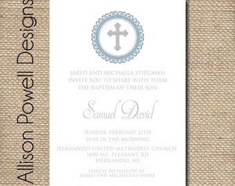 Boy Baptism, Christening, Church Dedication Printable Customized Invitation