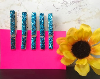 Set of 5 Glitter Clothespins - Baby Blue Clothes Pin - 3'' Clothes Pin - Blue Glitter Covered - Iridescent Sparkly Clothespins - Shabby Chic