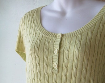 Chartreuse Scoopneck Pullover; Women's Medium Short-Sleeve Cabled Poor Boy Style Top; U.S. Shipping Included