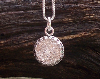 Recycled Antique Pink Depression Glass Necklace/Upcycled Recycled Repurposed/Druzy/Bridesmaid Gift/Gift for Her/Druzy Necklace/Sterling