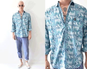 Vintage Hang 10 Pastel Blue Abstract Long Sleeve Button Up Shirt