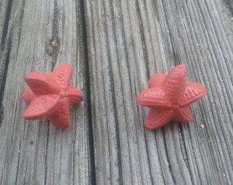 Starfish Drawer pull knob, coral color decor, beach decor, dresser drawer pull, coastal decor
