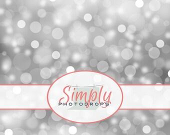 Vinyl Backdrop, Silver Bokeh, Photography Backdrop // Simply Photodrops Premium vinyl backdrop
