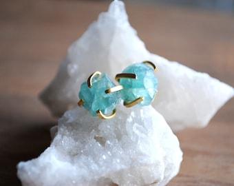 Blue Apatite Stud Earrings. Apatite Gemstone Earrings. Raw Blue Apatite Earrings. Apatite Stud Earrings. Gold Apatite Earrings. Gold Prongs.