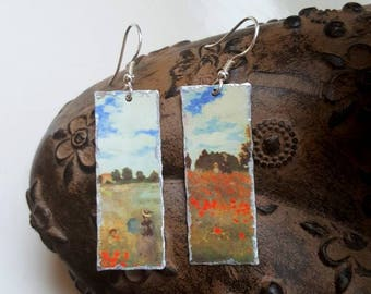 Monet Upcycled Tin Lightweight Earrings with 925 Sterling Silver Ear Wires Boho Hippy Art Lover Wearable Art Boho Hippy Unusual Gift
