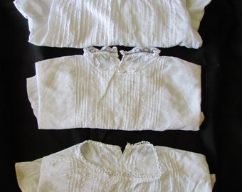3 x absolutely gorgeous antique French baby or doll lawn cotton lace chemises c1890