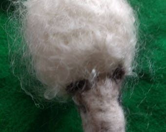 Pure Wool Needle Felted Sheep - Fluffy White
