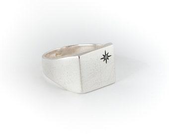 Black Diamond Silver Ring-Black Diamond Ring-Mens black diamond ring-steampunk engagement ring-Mens Steampunk Rings-Signet Ring Men-MJ