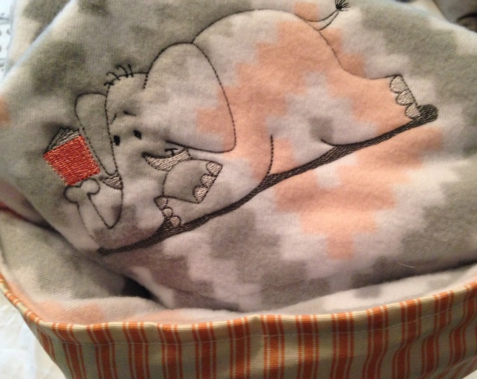 Nap mat cover Childs sleep mat cover peach cream gray elephant embroidered cream webbing easy fasten handle sturdy back ticking stripe