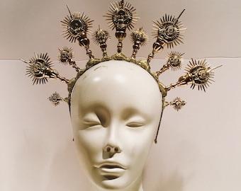 Gold headdress -Catholic Imagination - Crown- Goddess headpiece -Goldleaf Headpiece -Floral Headdress- Rhinestone Headpiece- Music Festival
