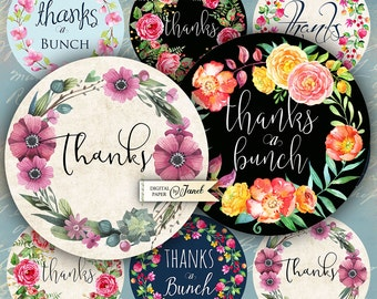 Thanks a Bunch - labels - 2.5 inch circles - set of 12 - digital collage sheet - pocket mirrors, tags, scrapbooking, cupcake toppers
