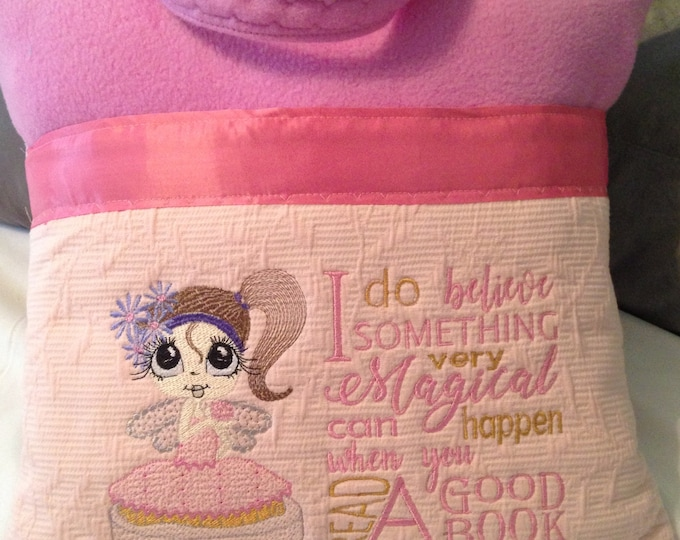 Pocket pillow fairy reading pillow pink child reading pillow fairy fabric I do believe quote zip close pink satin trim pink flannel front