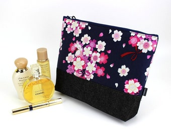 Large Travel Pouch, KImono Cosmetic Bag, Great Gift Idea, Padded Makeup Bag, Rabbit Cherry Blossoms Navy