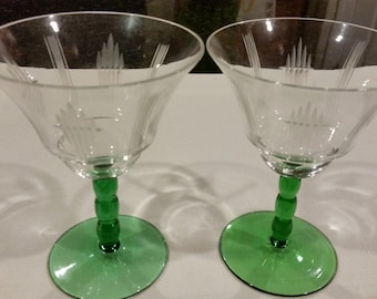 Clear Etched Glass Wine Glasses with Green Bubble Stems - Pair