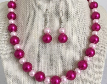 Fuchsia Pink Pearl Wedding Jewelry, Magenta Bridesmaid Pearl Necklace, Mother of the Bride Jewelry, Pink Pearl Bridal Jewelry