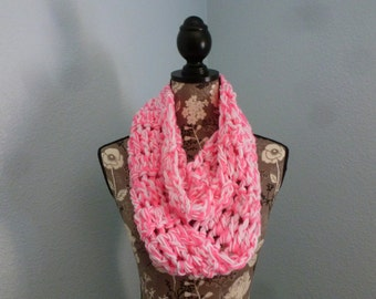 Crochet Infinity Scarf Pink