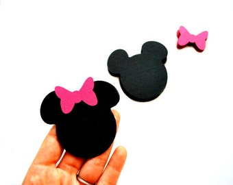 50  Minnie Mouse die cut, ( 2.5 inches) in black with hot pink bow  A259