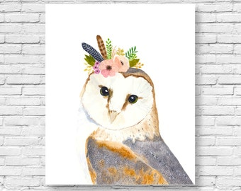 Watercolor owl, Owl painting, Woodland Nursery, Animal Paintings, owl, fox, Animal Wall Art, Childrens Wall Decor, Kids Art, woodland owl