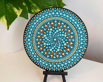 Turquoise Mandala Art - Dot Art - Painted Wood - Hand-Painted Meditation Mandala Rock - Home Decor - Chakra Painting - Boho - Paint Rock