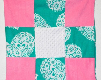Turquoise and pink fleece and minky baby quilt, car seat, crib or lap blanket