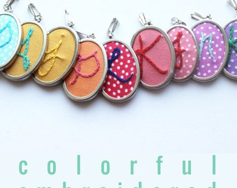 Bridesmaid Necklace Gifts. Embroidered Initial Necklace. Personalized Jewelry. Hand Embroidery Initial Pendant. Colorful Bridesmaid Gift ...