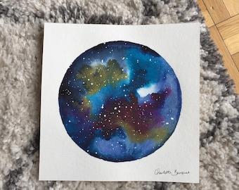 Watercolor paint, cosmic Galaxy