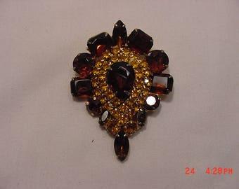 Vintage Amber & Gold Rhinestone Tear Drop Brooch  17 - 1355
