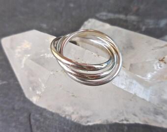 Rolling Ring, White Gold Rolling Ring, 3 white gold rings, Interlocking Gold Rings, 14 Kt White, Infinity,Trinity, Interlocking, Puzzle ring