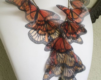 Migration - Handmade Monarch Silk Organza Butterflies Necklace, Statement Necklace - One of a Kind - Made to Order