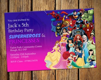 Kids Birthday Personalised Party Invitations Boys Princess & Superheroes