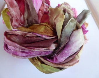 6 hand dyed silk ribbons approx 2m each mix of colour - FR84