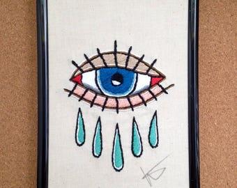 Crying eye tattoo flash Embroidery